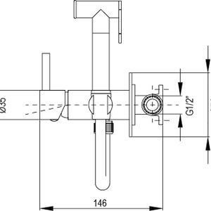 Схема на смесител за вграждане с хигиенен душ TAUS 34TAU0010120