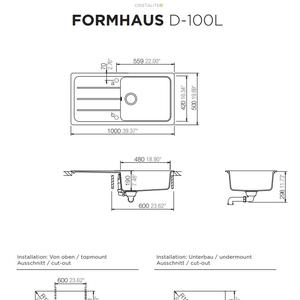 Схема на кухненска мивка Schock Formhaus D-100L