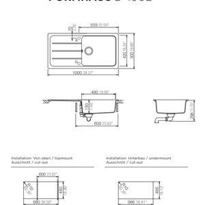 Схема на кухненска мивка Schock Mono D-100