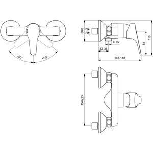 Схема Смесител стенен за душ SevaNext B1923AA