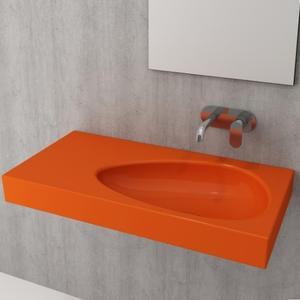 Умивалник с плот, без пробит отвор за смесител Bocchi Etna 90см, оранжев гланц
