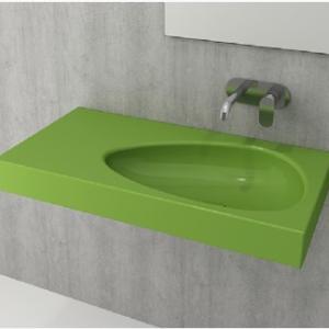 Умивалник с плот, с отвор за смесител Bocchi Etna 90см, цвят- зелен гланц