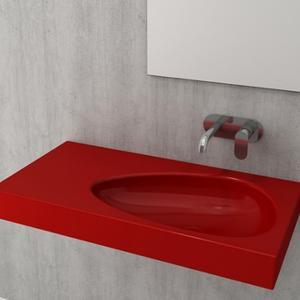Умивалник с плот, с отвор за смесител Bocchi Etna 90см, цвят- червен гланц