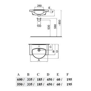Мивка за баня Fayans Area 60 см