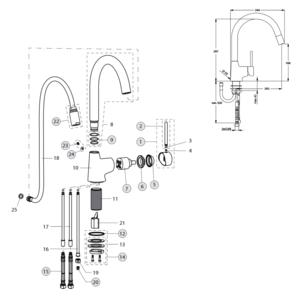 Схема на Nora В9330АА - смесител за кухня