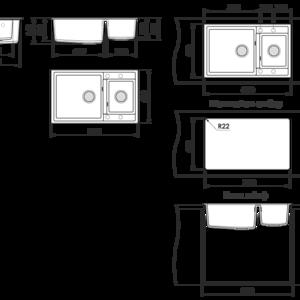 Кухненска мивка Фат 233 граниксит- чертеж