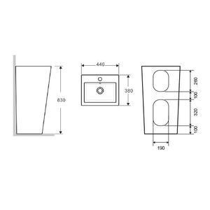 Схема на стояща мивка за под