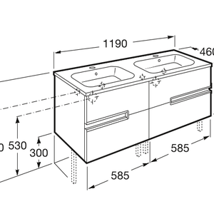 схема долен шкаф с двоен умивалник Викториа-Н