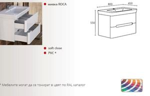 PVC долен шкаф за баня Монако 80см.