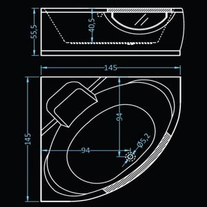 Схема Хидромасажна вана Амстердам 145х145 Combo Flat 12
